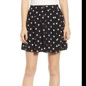 Love, Fire Black White Polka Dot Flowy Mini Skirt
